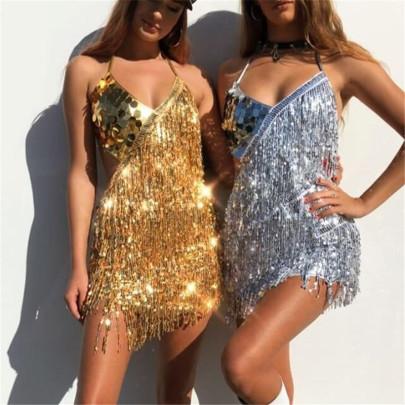 Sequin Tassel Suspender Dress Nihaostyles Clothing Wholesale NSXYA84975