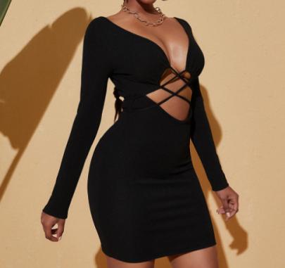 Slim Long-sleeved Hollow Lace V-neck Dress Nihaostyles Clothing Wholesale NSXYA84965