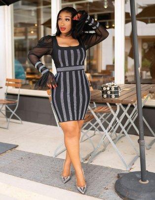Puff Sleeve Low-cut Tight-fitting Rhinestone Mesh Dress Nihaostyles Clothing Wholesale NSME84745