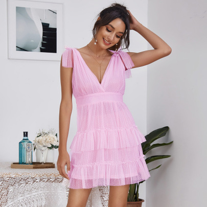 V-neck Mesh Backless Pink Cake Suspender Dress Nihaostyles Wholesale Clothing NSGHW84657