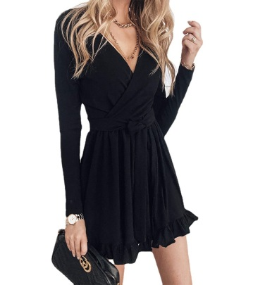 Solid Color V-neck Long-sleeved Lace-up Ruffled Dress Nihaostyles Wholesale Clothing NSFM84830