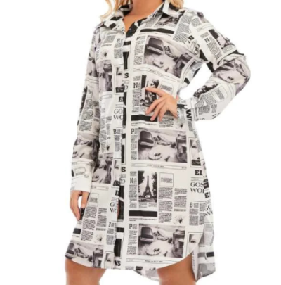 Plus Size Newspaper Printed Long-sleeved Shirt Dress Nihaostyles Clothing Wholesale NSCX84792