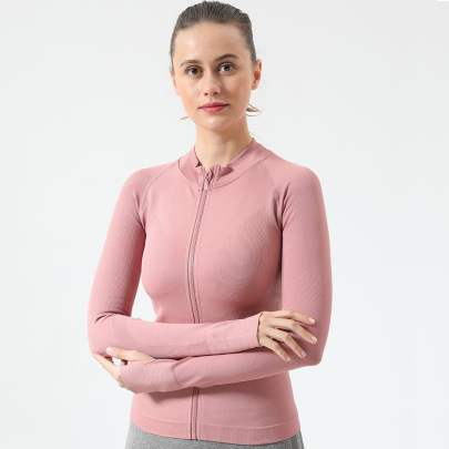 Knitted Long-sleeved With Zipper Yoga Fitness Top Nihaostyles Wholesale Clothing NSOUX85032