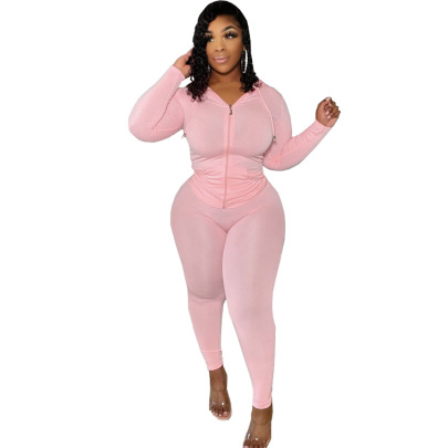 Plus Size Tight-fitting Solid Color Two-piece Lounge Set Nihaostyles Clothing Wholesale NSFNN84851