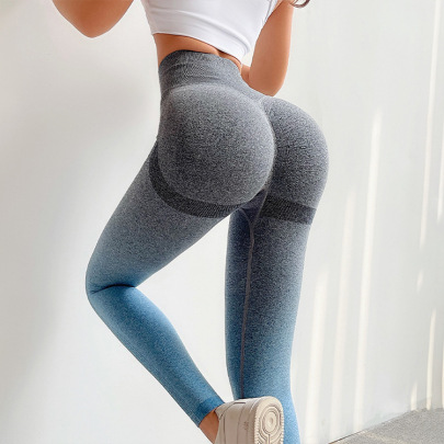 Seamless Hanging Dye Gradient High-waist Tight High-elastic Quick-drying Yoga Pants Nihaostyles Wholesale Clothing NSOUX85023