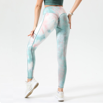 Sexy High-waist Hip-lifting Tight High-elastic Tie-dye With Pocket Yoga Pants Nihaostyles Wholesale Clothing NSOUX85026
