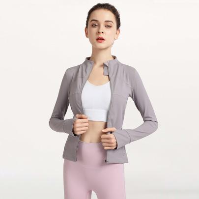 Solid Color Full Zipper Yoga Jacket Nihaostyles Clothing Wholesale NSJLF85149