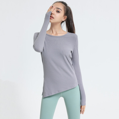 High Stretch Ribbed Long-sleeved Slim Round Neck Yoga Top Nihaostyles Clothing Wholesale NSJLF85156