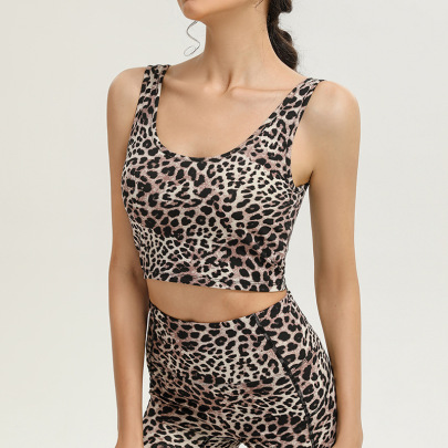 Leopard Print Yoga Underwear With Chest Pad Nihaostyles Clothing Wholesale NSJLF85163