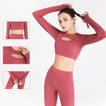Long-sleeved Hollow Stretch Cropped Yoga T-shirt Nihaostyles Clothing Wholesale NSJLF85170