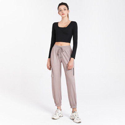 Loose-fitting Lace-up Yoga Pants Nihaostyles Clothing Wholesale NSJLF85171