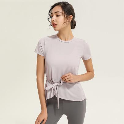 Hollow Back Straps Short-sleeved Yoga Top Nihaostyles Clothing Wholesale NSJLF85177