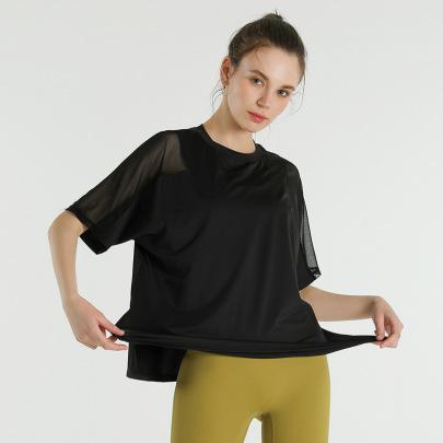Stretch Loose Short-sleeved Mesh Stitching Yoga T-shirt Nihaostyles Clothing Wholesale NSJLF85178