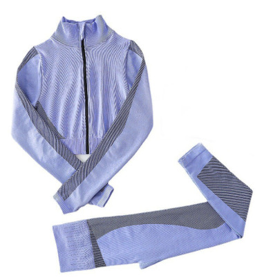Seamless Stripe Jacket High Waist Hip-lifting Yoga Set Nihaostyles Clothing Wholesale NSXER85185