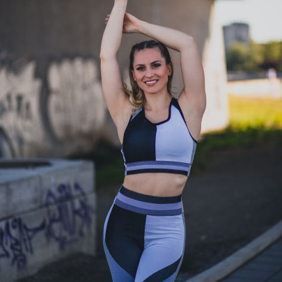 Geometric Stitching Contrast Color Vest And Hip-lifting High-elastic Receiving Waist Shorts Sports Fitness Suit Nihaostyles Wholesale Clothing NSOUX85190