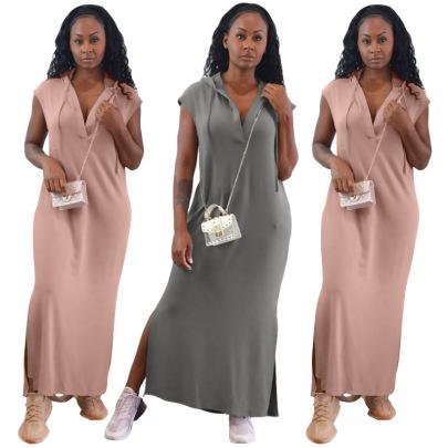 V-neck Burnt Flower Back Hollow Sleeveless Hooded Dress Nihaostyles Wholesale Clothing NSRM85202
