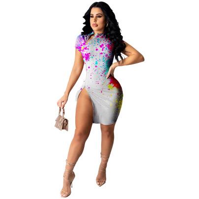 High Elastic Pit Strip Short-sleeved Ink-splattered Print Slit Dress Nihaostyles Wholesale Clothing NSRM85207