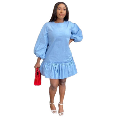 Spring Long-sleeved Ruffled Pleated Loose Dress Nihaostyles Wholesale Clothing NSRM85217