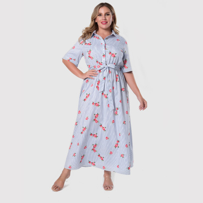 Plus Size Women's Square Neck Print Dress With Buttons Nihaostyles Clothing Wholesale NSWCJ85246