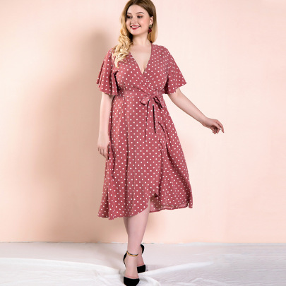 Plus Size Polka-dot Lace-up Slit Dress Nihaostyles Clothing Wholesale NSWCJ85249