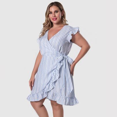 Blue Vertical Stripes Plus Size V-neck Ruffled Dress Nihaostyles Clothing Wholesale NSWCJ85250