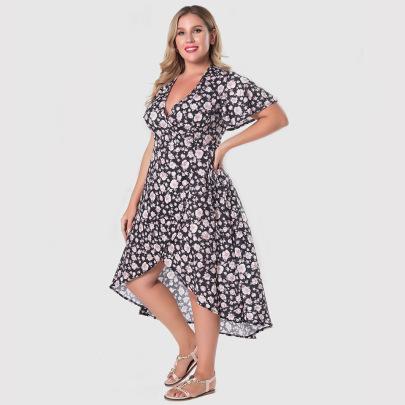 Plus Size V-neck Tie Waist Print Ruffle Dress Nihaostyles Clothing Wholesale NSWCJ85251