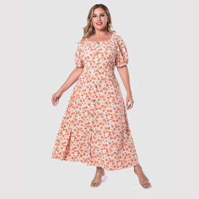 Plus Size Puff Sleeve Single-breasted Floral Dress Nihaostyles Clothing Wholesale NSWCJ85252