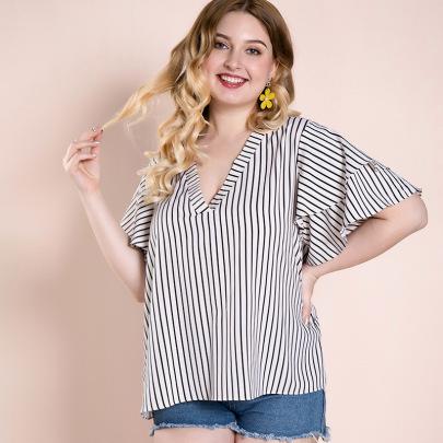 Plus Size Striped V-neck Loose T-shirt Nihaostyles Clothing Wholesale NSWCJ85254