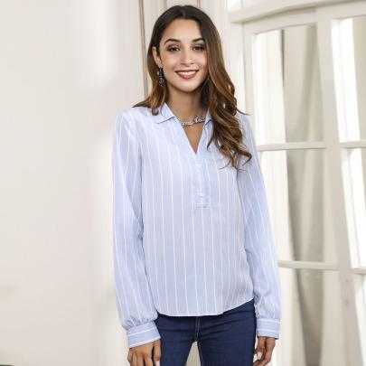 Striped V-neck Long-sleeved Blue Shirt Nihaostyles Clothing Wholesale NSWCJ85257