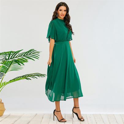 Loose Mid-length Petal Short-sleeved Dress Nihaostyles Clothing Wholesale NSWCJ85261
