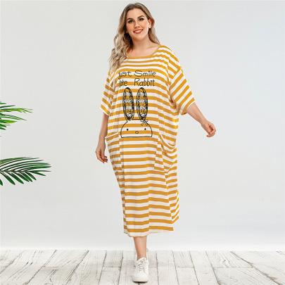 Loose Cartoon Printed Short Sleeve Plus Size Dress Nihaostyles Clothing Wholesale NSWCJ85262