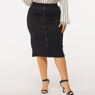 Plus Size Solid Color Button Decoration Mid-length Skirt Nihaostyles Clothing Wholesale NSWCJ85265