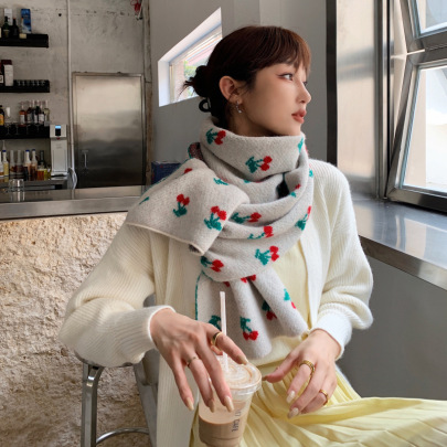 Cherry Printed Warm Wool Scarf Nihaostyles Clothing Wholesale NSCM85267
