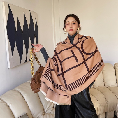 Dual-use Plaid Imitation Wool Scarf Nihaostyles Clothing Wholesale NSCM85268