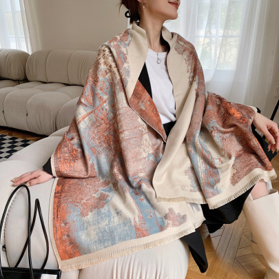 Painting Printing Imitation Cashmere Thick Double-sided Scarf Nihaostyles Clothing Wholesale NSCM85269