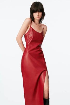 Red Imitation Leather Sleeveless Slit Suspender Dress Nihaostyles Wholesale Clothing NSAM85306