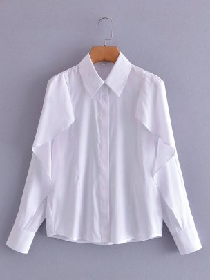 Lapel Long-sleeved Buttoned Blouse Nihaostyles Wholesale Clothing NSAM85307