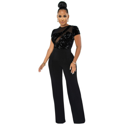 Sequins Perspective Short-sleeved Jumpsuit Nihaostyles Clothing Wholesale NSCYF85319