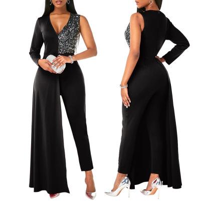 V-neck Sequin Plus Size Irregular Jumpsuit Nihaostyles Clothing Wholesale NSCYF85322