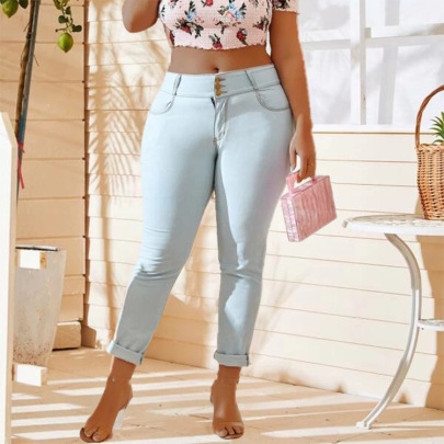 Three Waist Buttons Slim Jeans Nihaostyles Clothing Wholesale NSWL85333