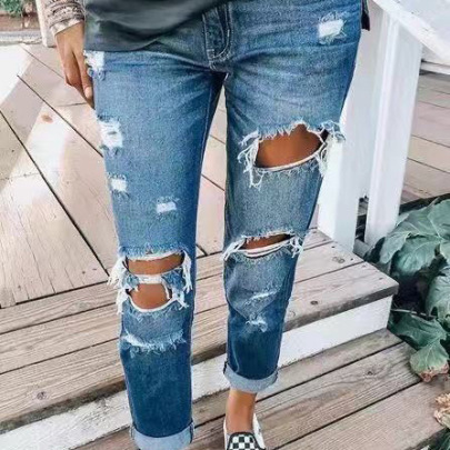 Washed Ripped Jeans Nihaostyles Clothing Wholesale NSWL85334