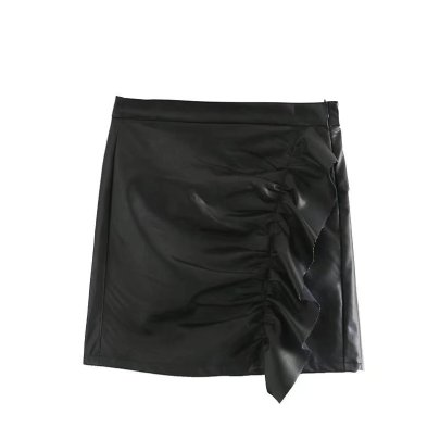 Sexy Package Hip Ruffled Leather Skirt Nihaostyles Wholesale Clothing NSAM85359