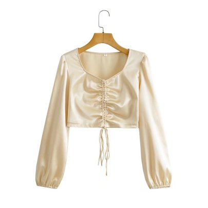 Autumn V-neck Drawstring Satin Long-sleeved Top Nihaostyles Wholesale Clothing NSAM85361