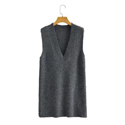 Deep V Solid Color Knitted Vest Dress Nihaostyles Wholesale Clothing NSAM85364