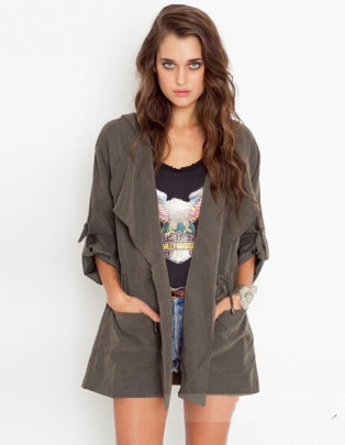 Solid Color Mid-length Hooded Jacket Nihaostyles Clothing Wholesale NSOUY85472
