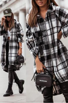 Full Zipper Hooded Plaid Shirt Nihaostyles Clothing Wholesale NSOUY85471