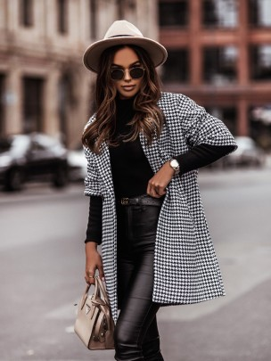 Houndstooth Three-quarter Sleeve Woolen Coat Nihaostyles Clothing Wholesale NSOUY85470