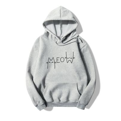 Simple Line Cat Print Long-sleeved Fleece Hoodie Nihaostyles Clothing Wholesale NSYAY85465