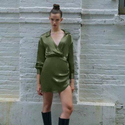 Retro Green Silk Satin Texture V-neck Long-sleeved Shirt Dress Nihaostyles Wholesale Clothing NSAM85356