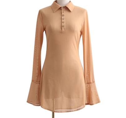 Sexy Mesh PoLo Collar Flared Sleeved Shirt Dress Nihaostyles Wholesale Clothing NSAM85372